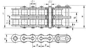 Duplex rollenketting volgens DIN 8188